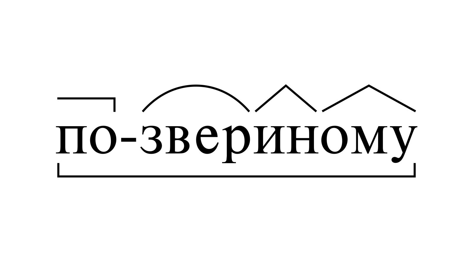 Разбор слова «по-звериному» по составу