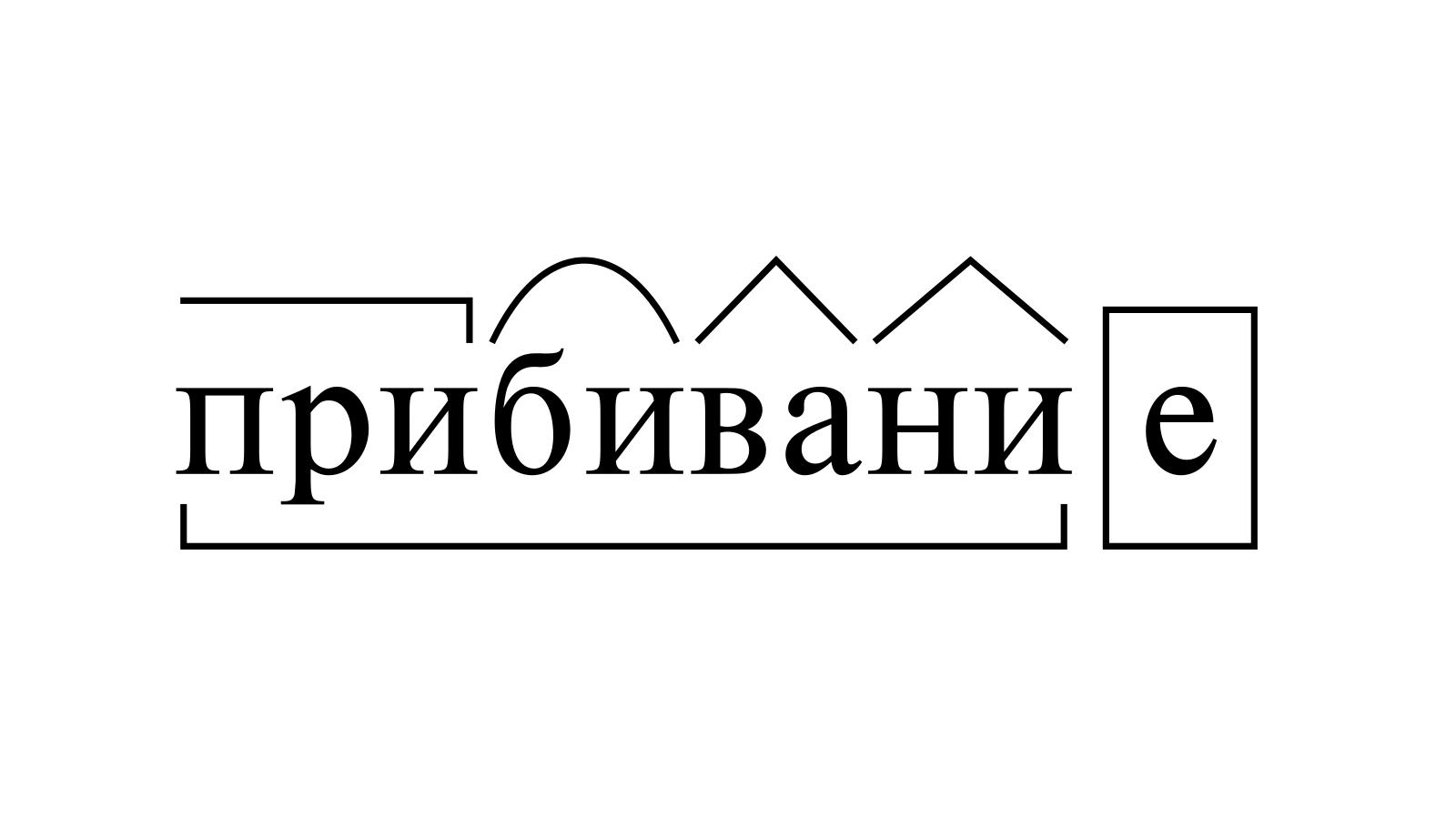 Разбор слова «прибивание» по составу