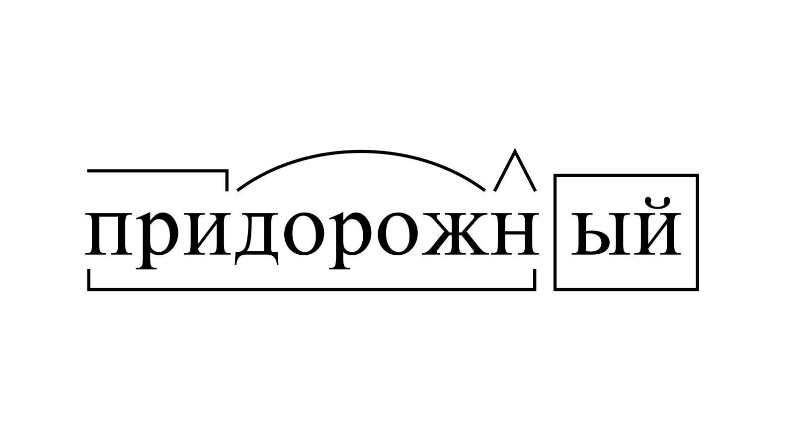 Разбор слова «придорожный» по составу