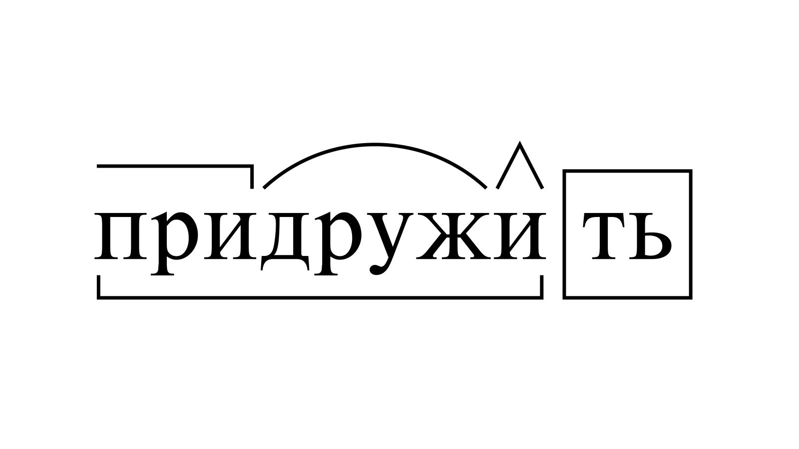Разбор слова «придружить» по составу