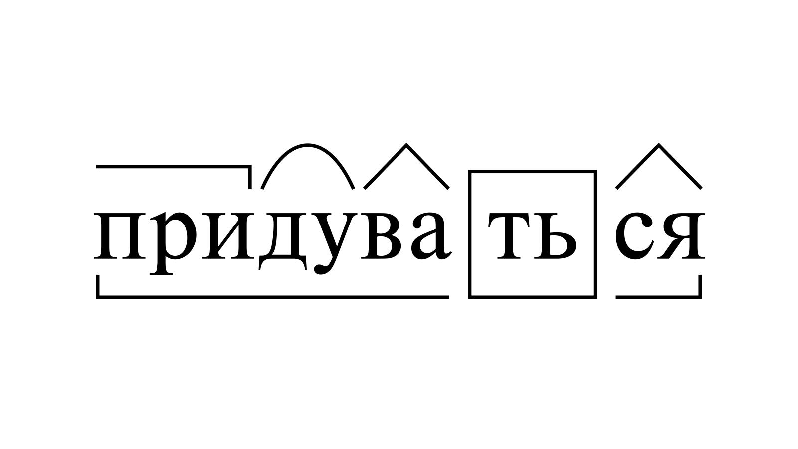 Разбор слова «придуваться» по составу