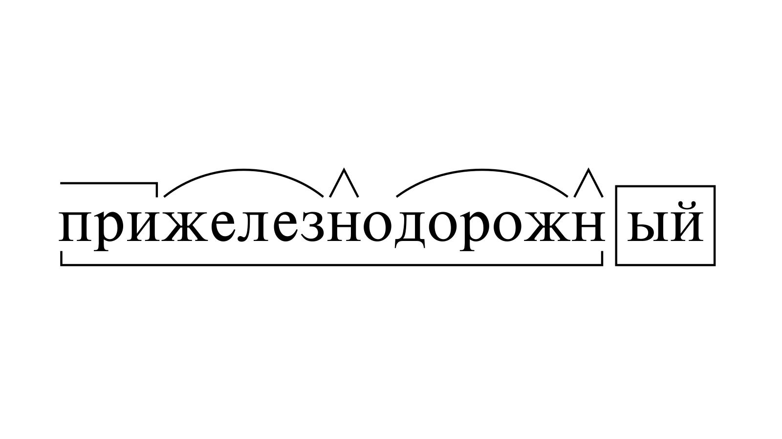 Разбор слова «прижелезнодорожный» по составу