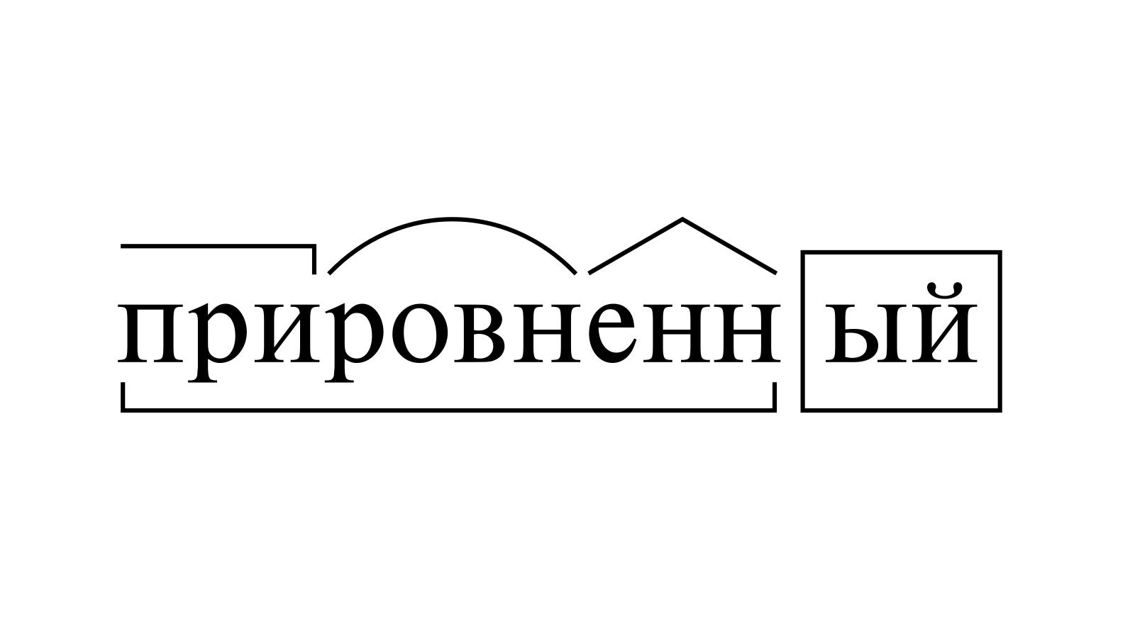 Разбор слова «прировненный» по составу
