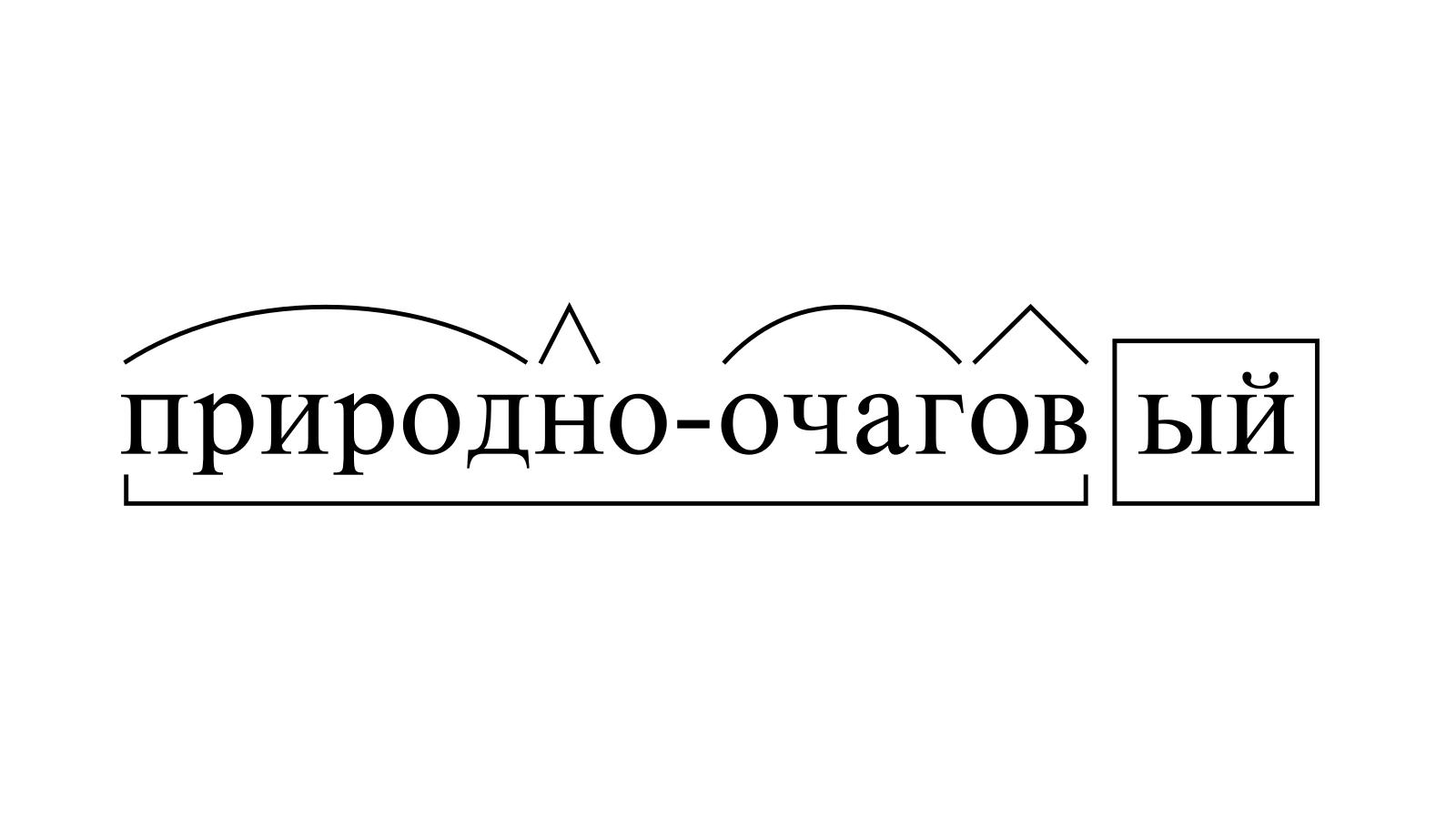 Разбор слова «природно-очаговый» по составу