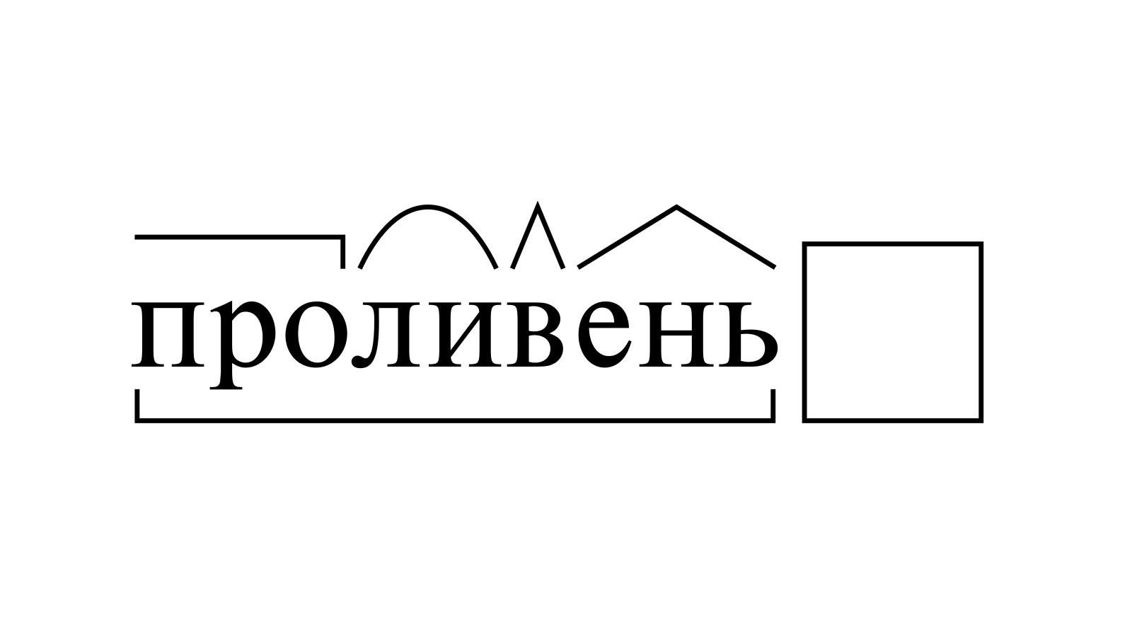 Разбор слова «проливень» по составу
