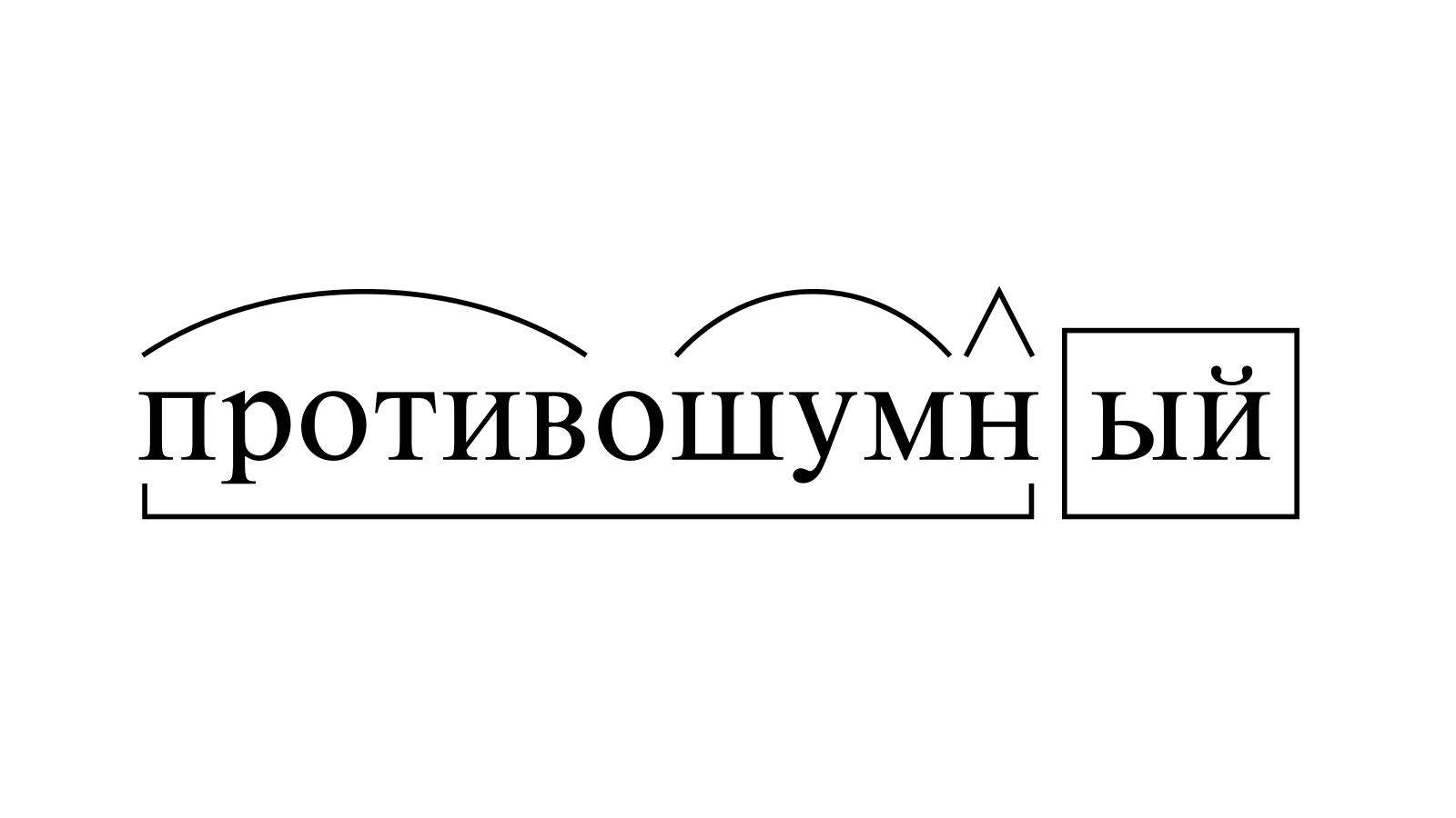 Разбор слова «противошумный» по составу