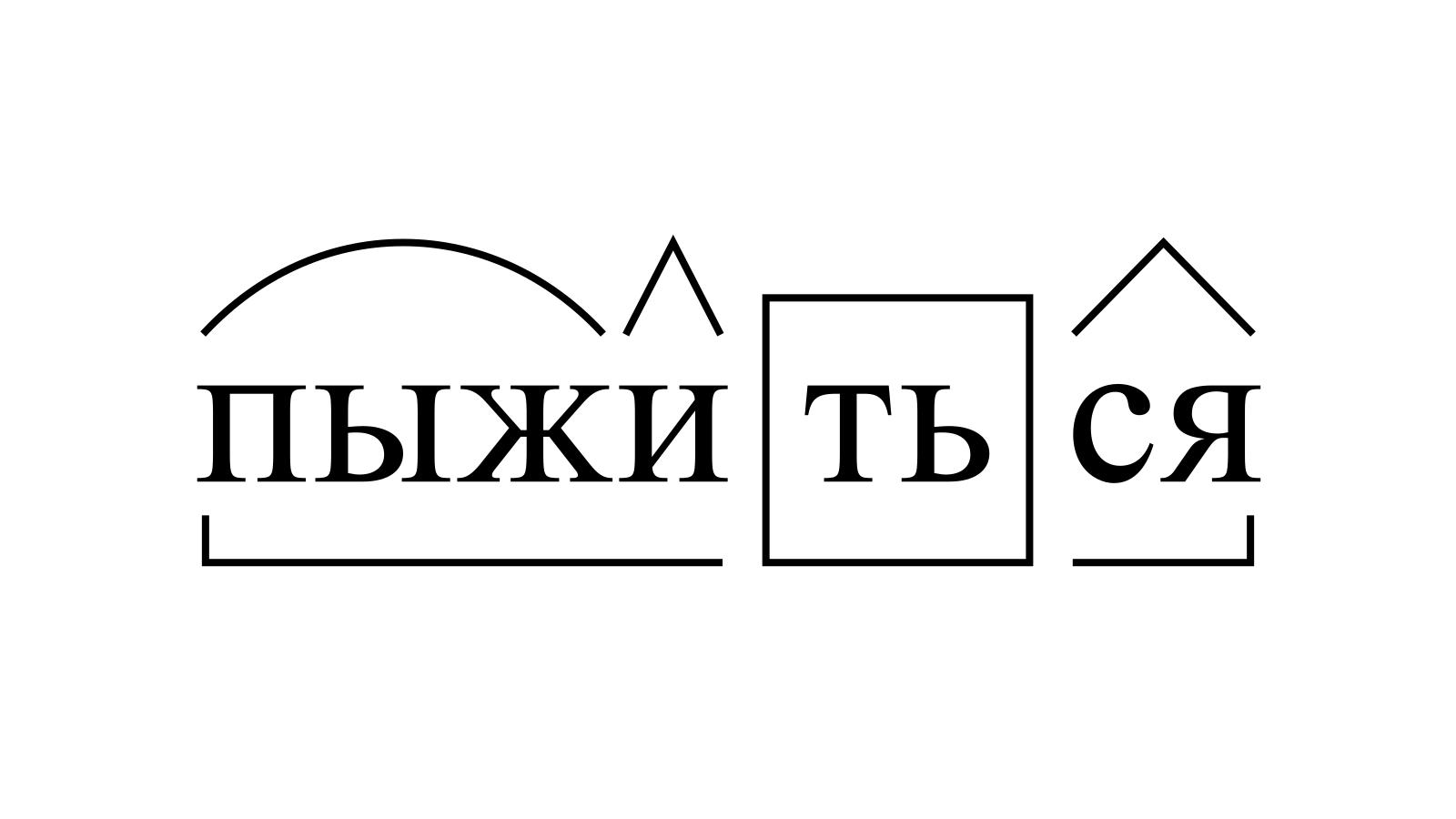 Разбор слова «пыжиться» по составу