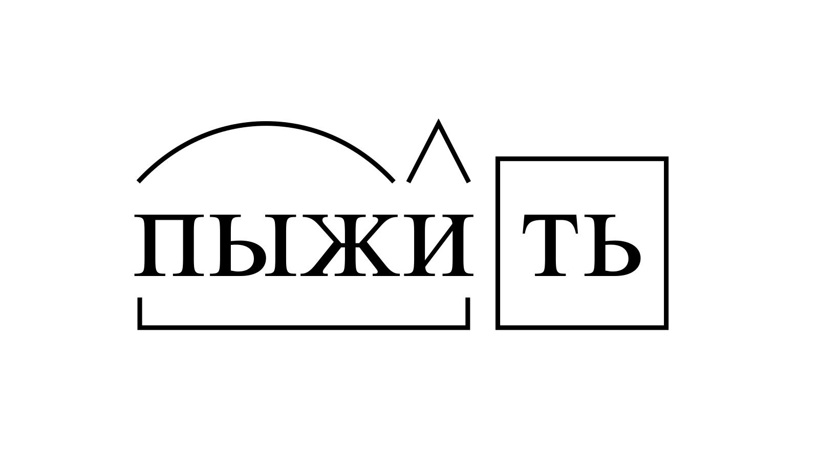 Разбор слова «пыжить» по составу