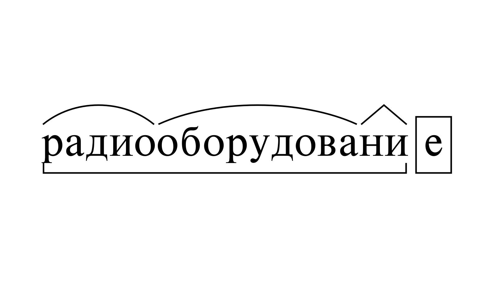 Разбор слова «радиооборудование» по составу