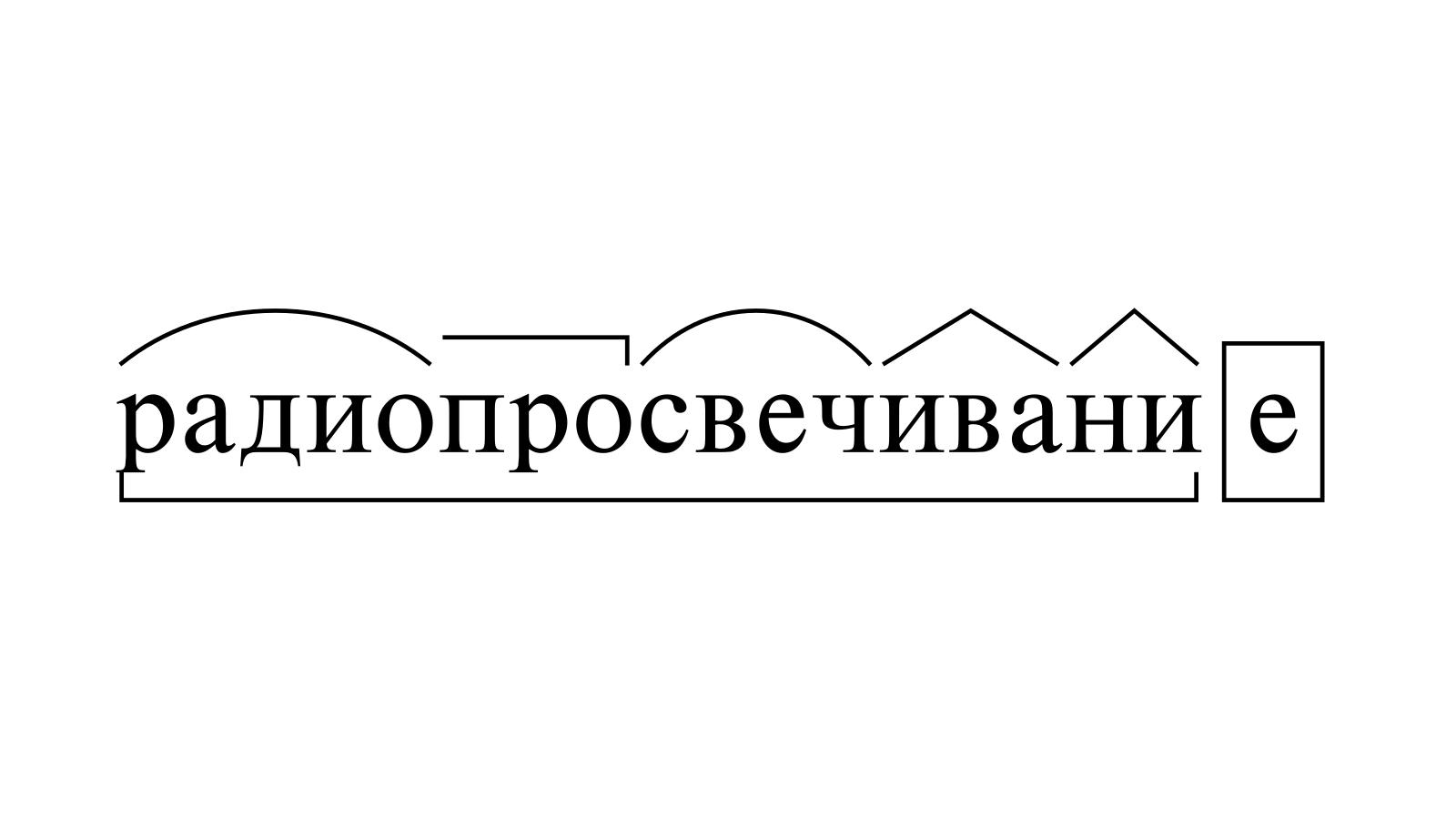 Разбор слова «радиопросвечивание» по составу
