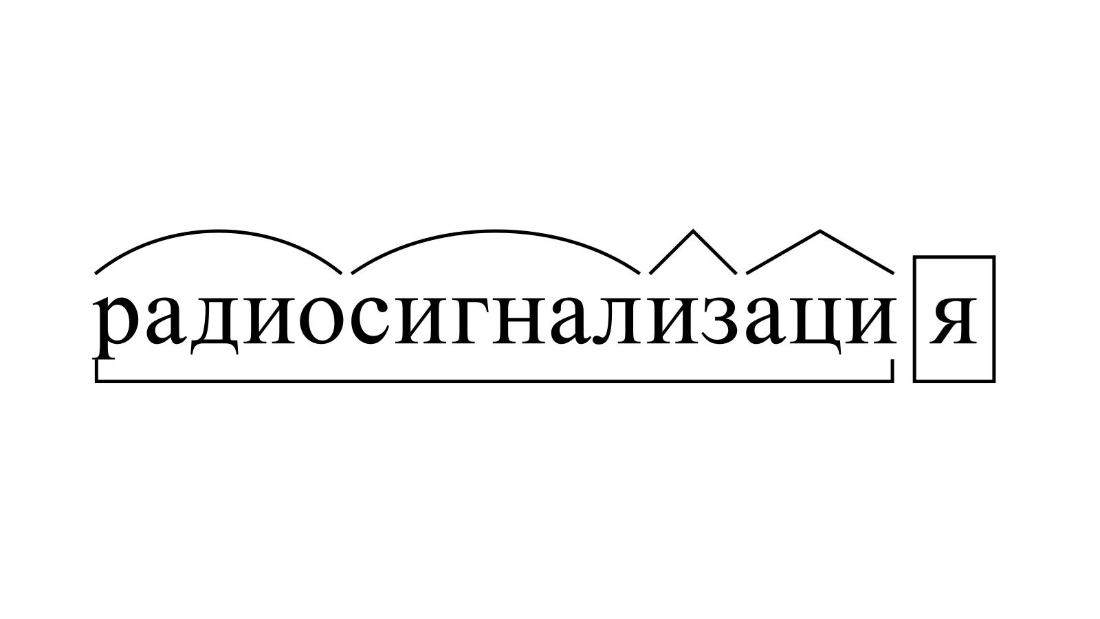 Разбор слова «радиосигнализация» по составу