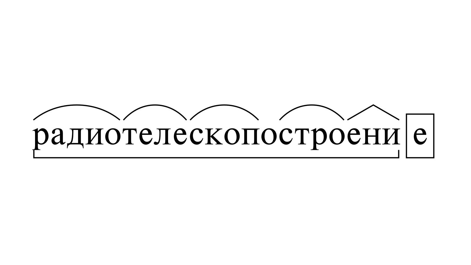 Разбор слова «радиотелескопостроение» по составу