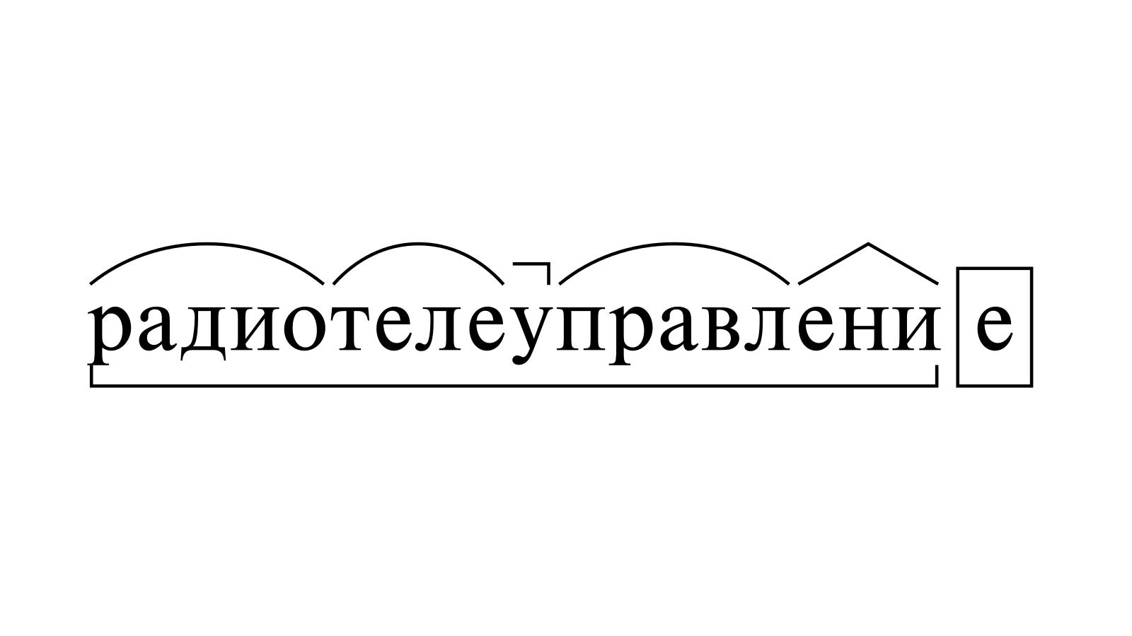 Разбор слова «радиотелеуправление» по составу