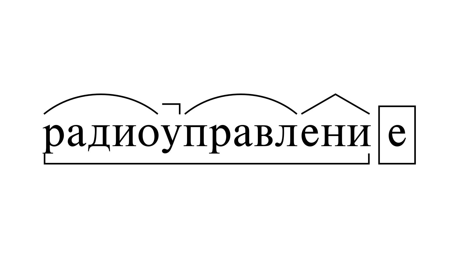 Разбор слова «радиоуправление» по составу
