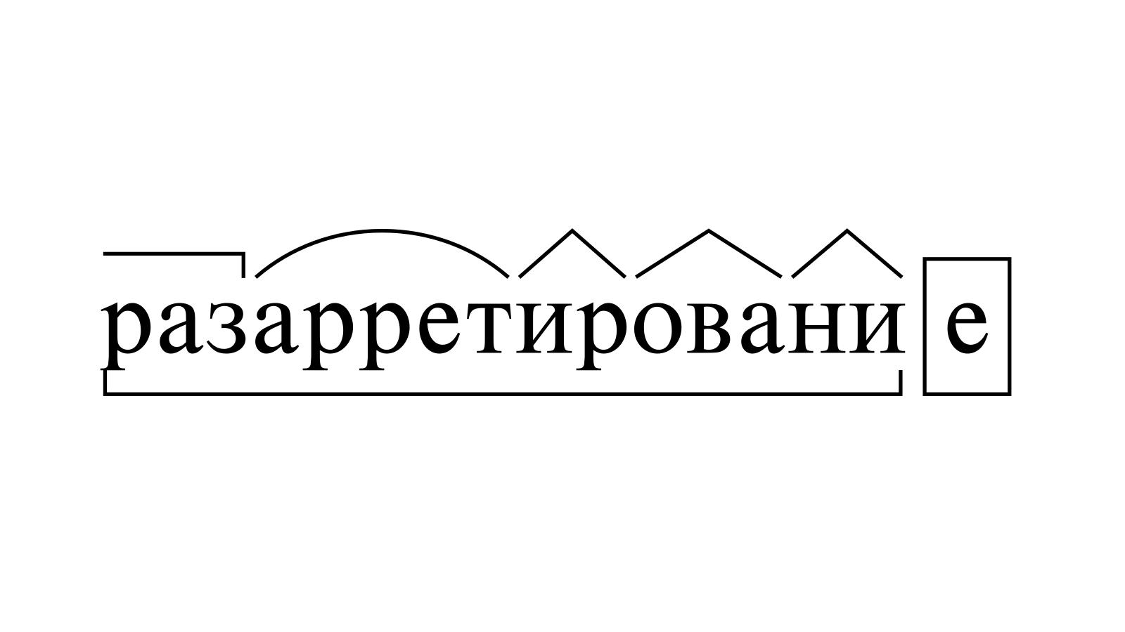 Разбор слова «разарретирование» по составу