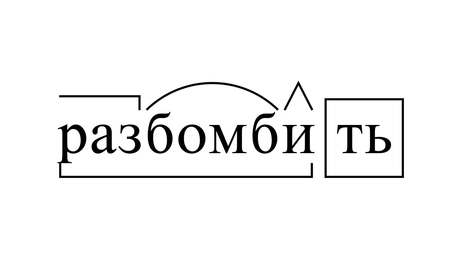 Разбор слова «разбомбить» по составу
