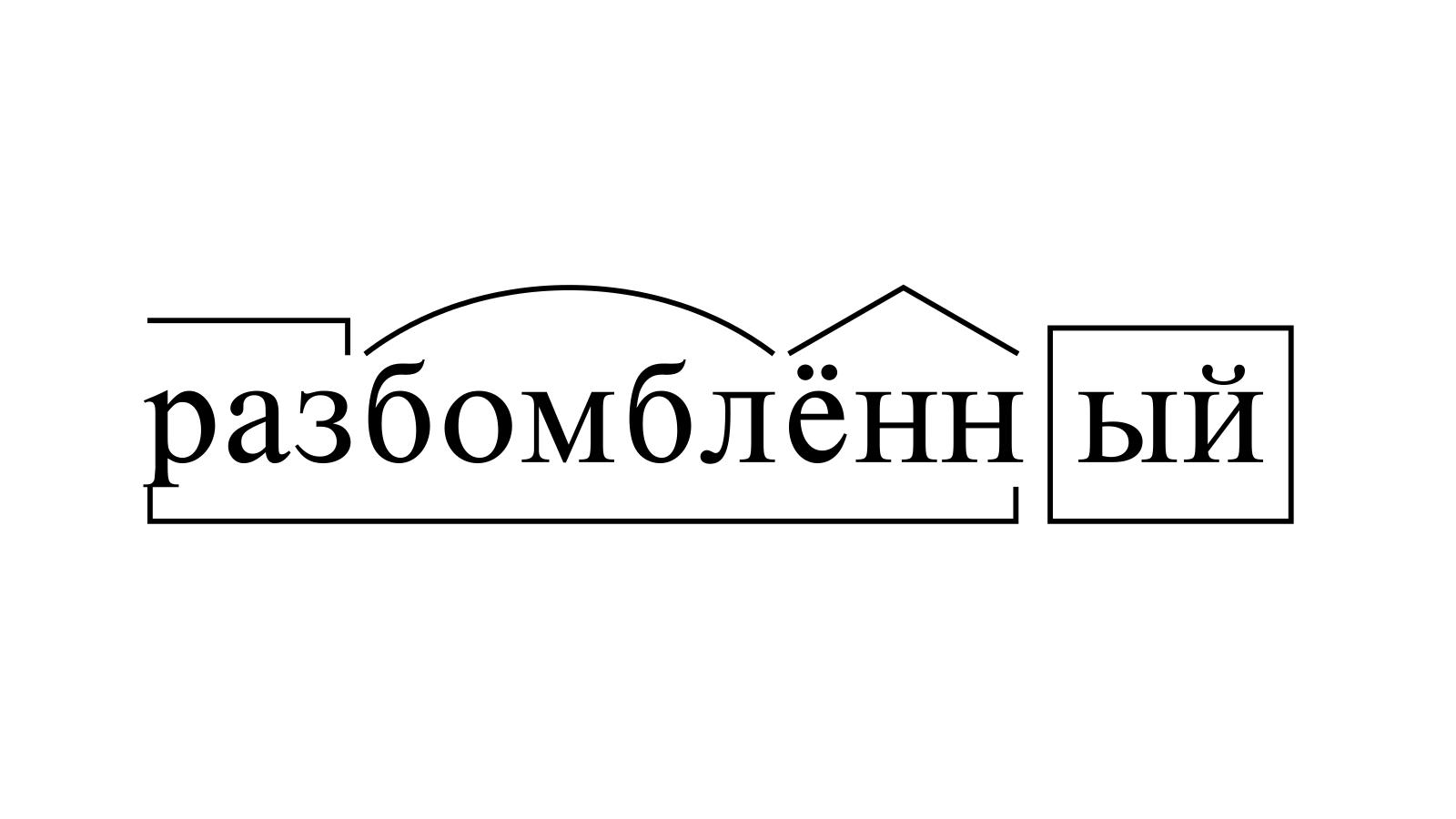 Разбор слова «разбомблённый» по составу