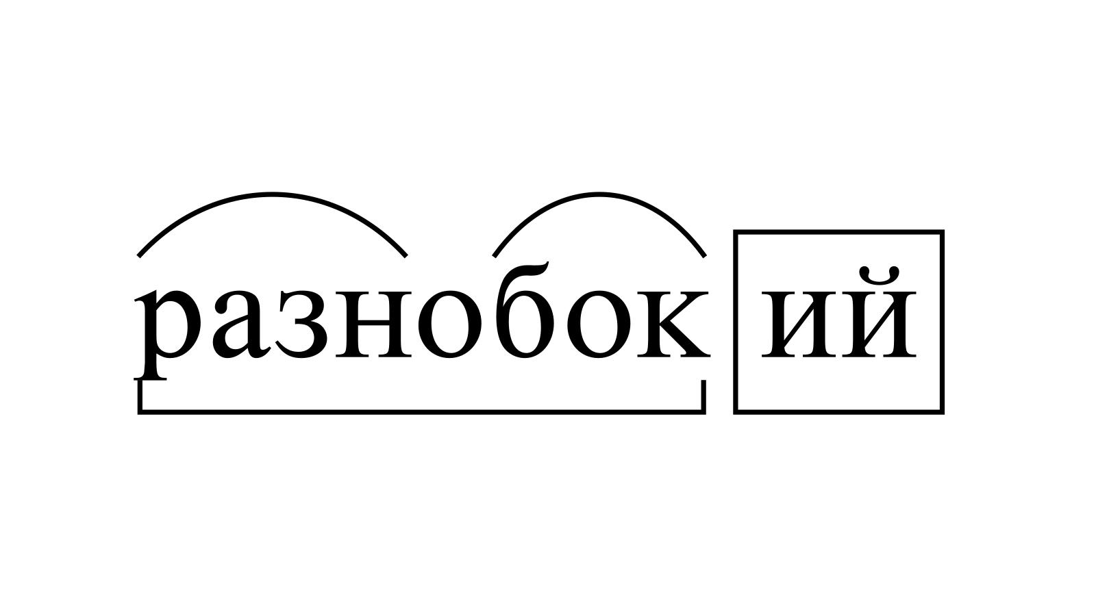 Разбор слова «разнобокий» по составу