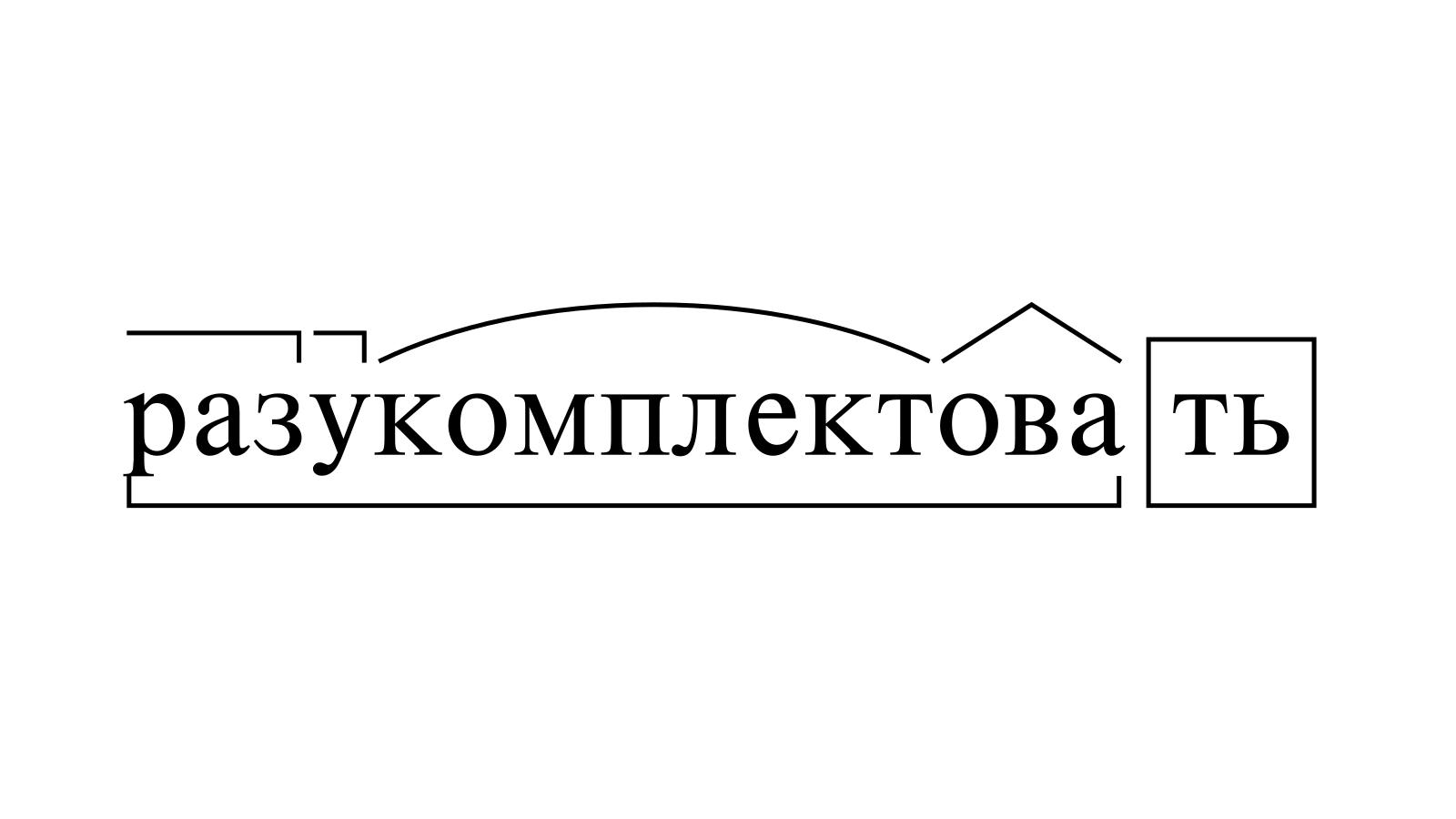 Разбор слова «разукомплектовать» по составу