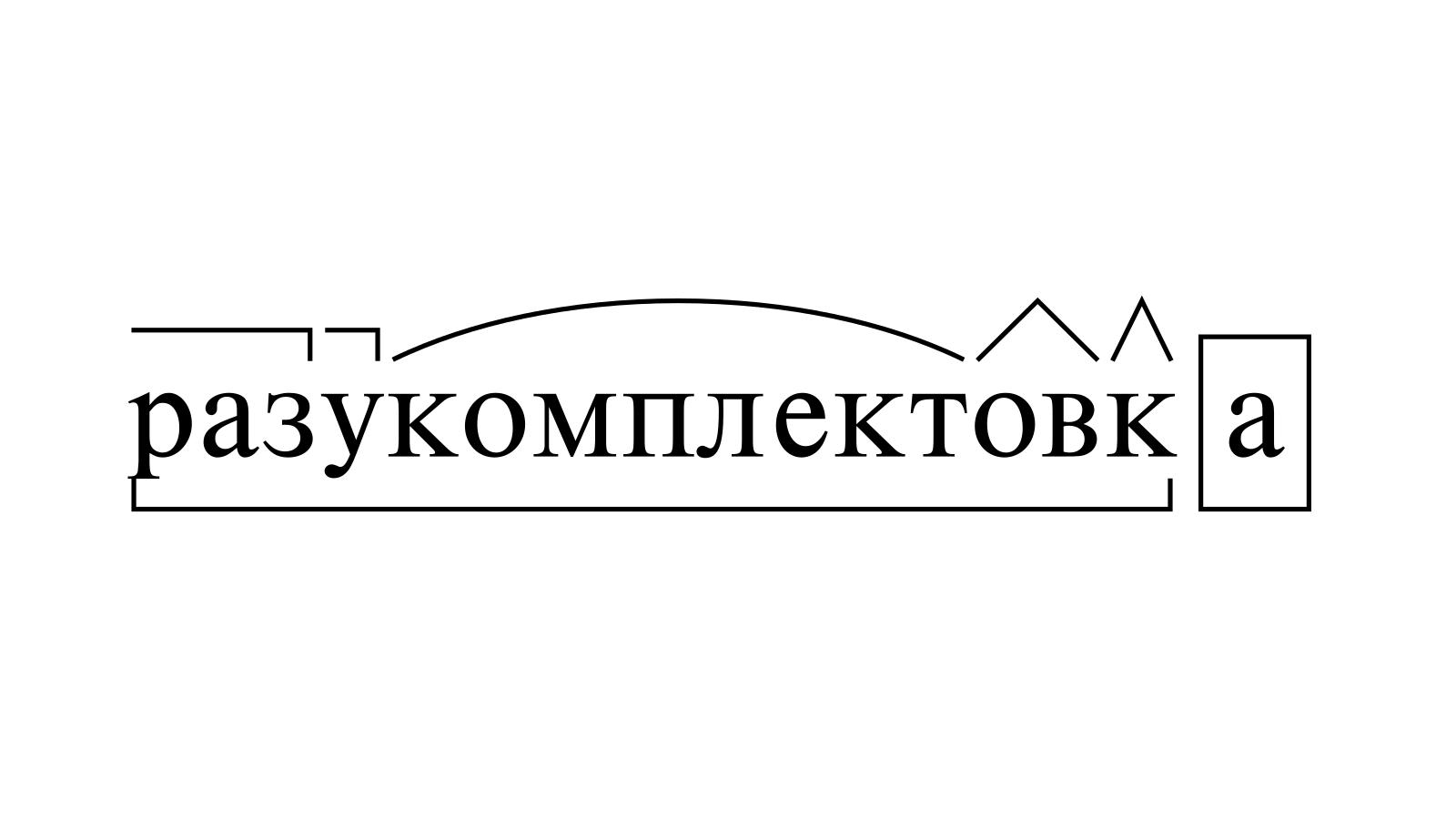 Разбор слова «разукомплектовка» по составу