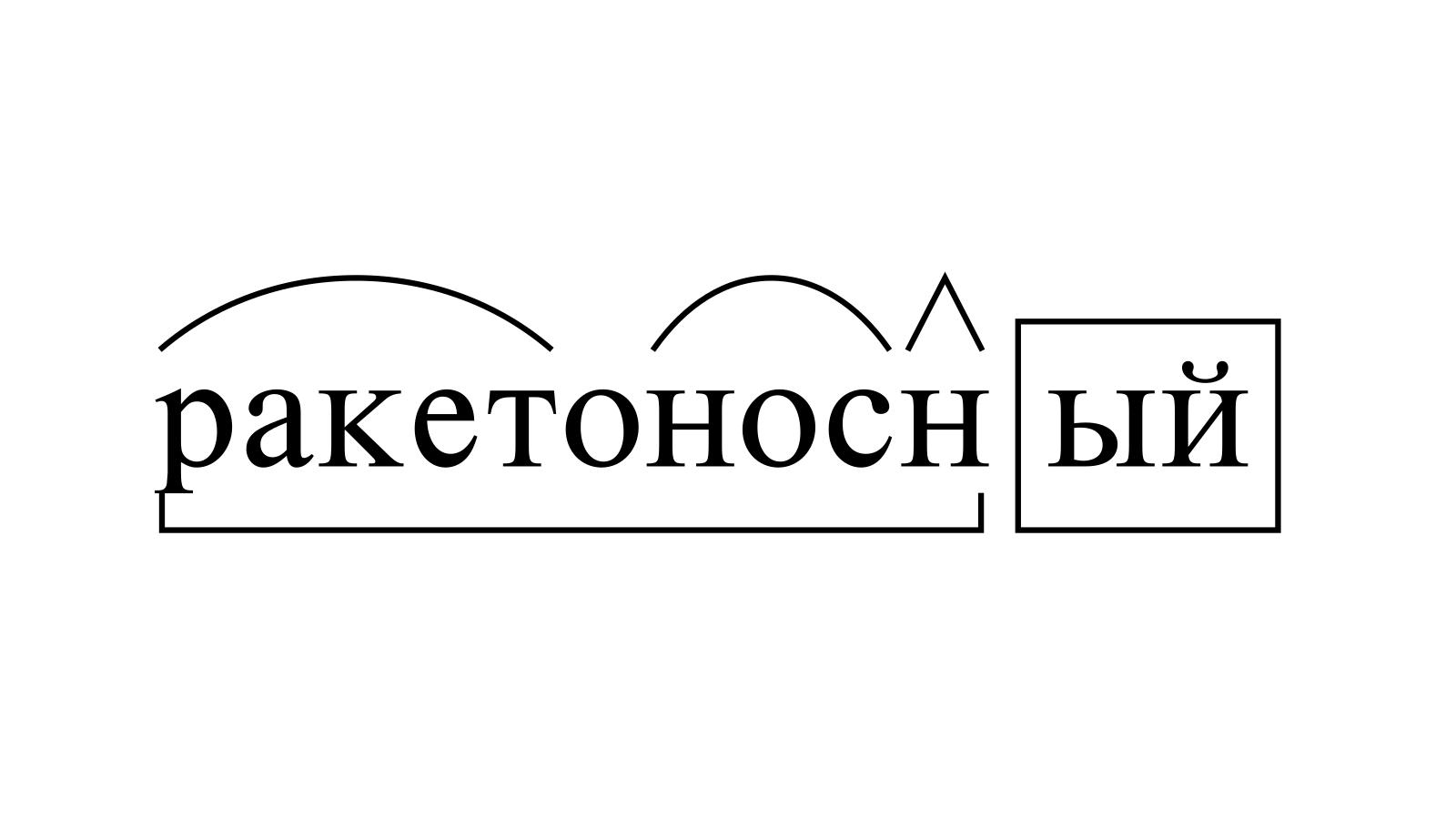 Разбор слова «ракетоносный» по составу
