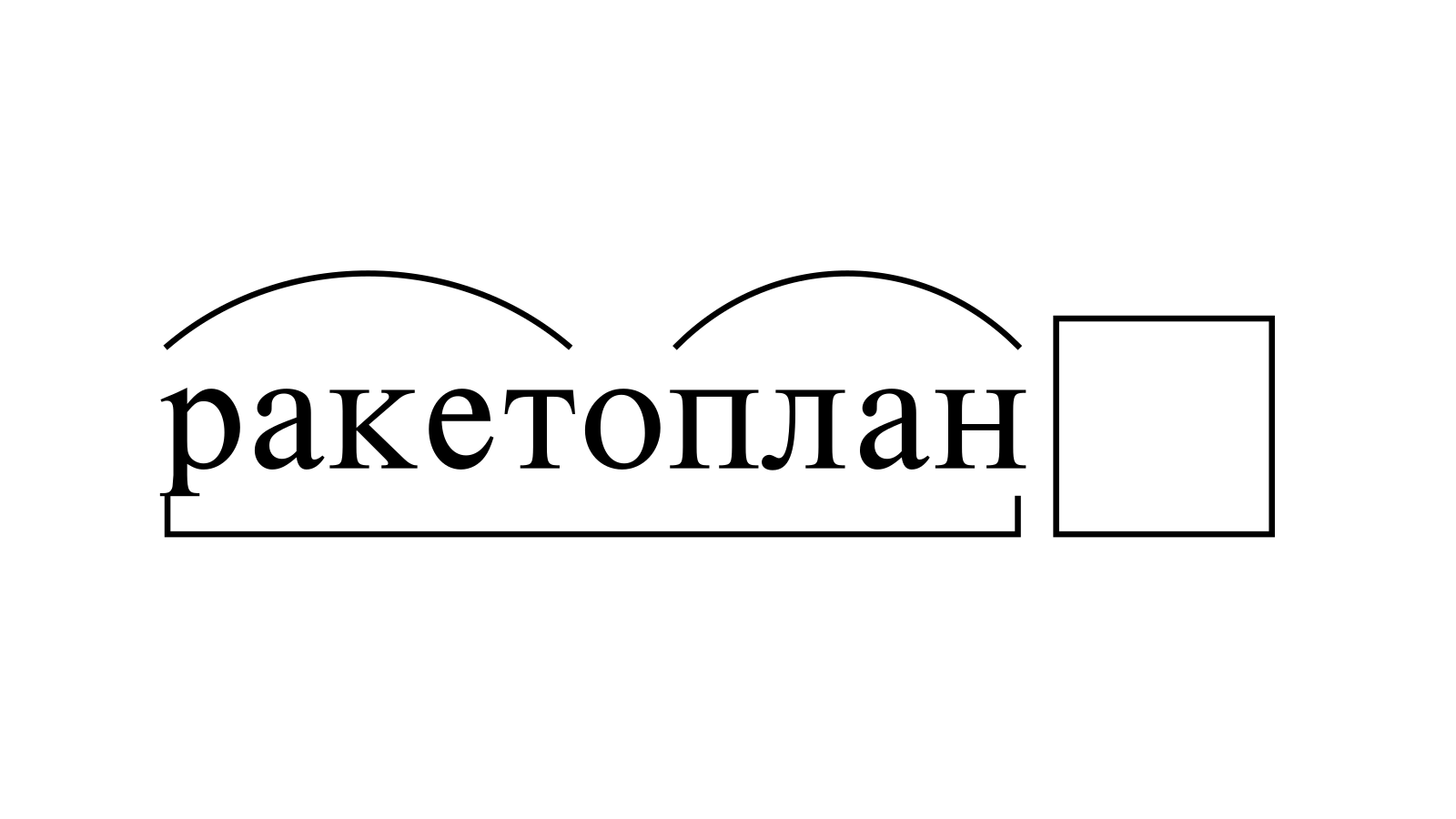 Разбор слова «ракетоплан» по составу