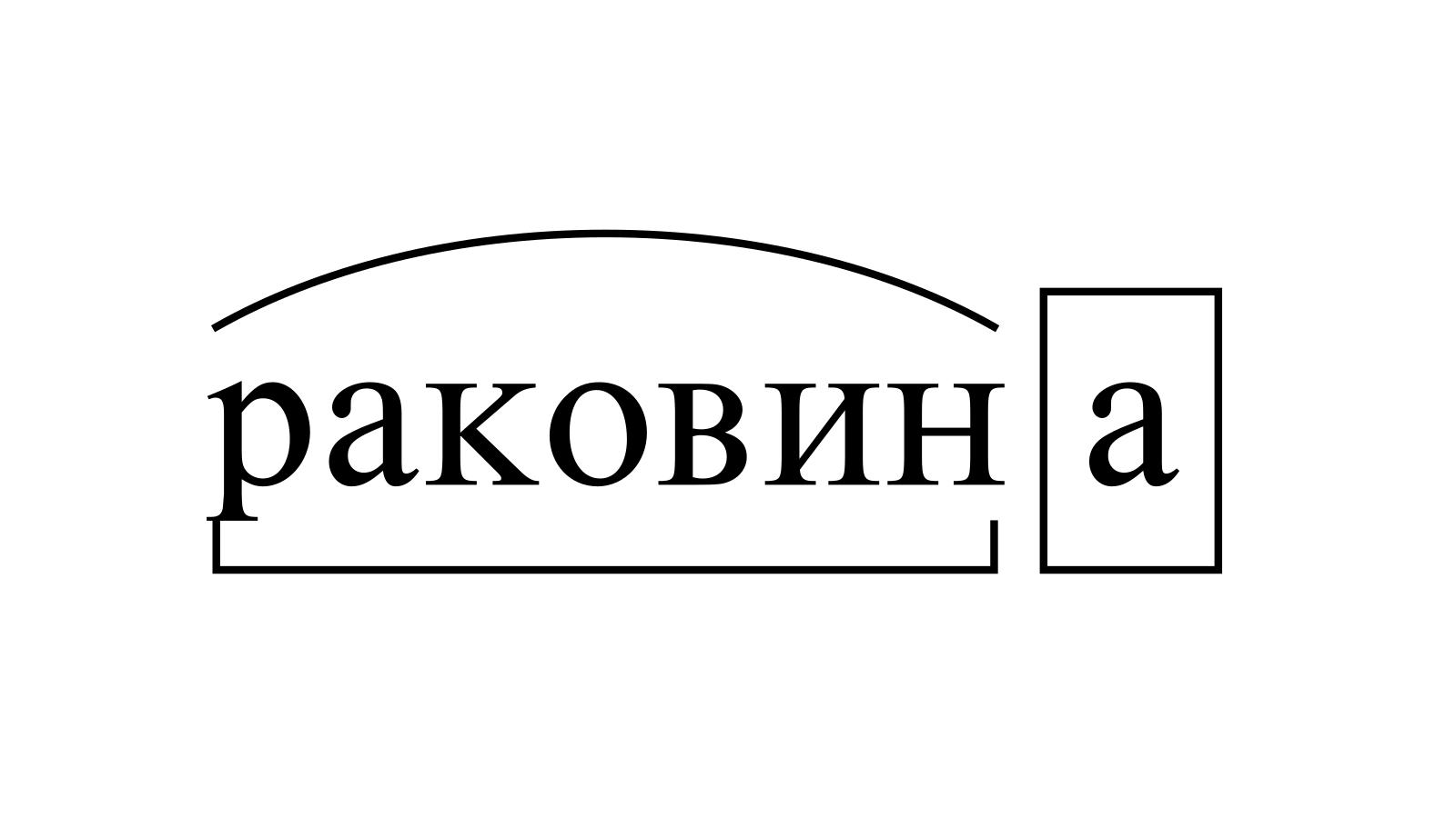 Разбор слова «раковина» по составу