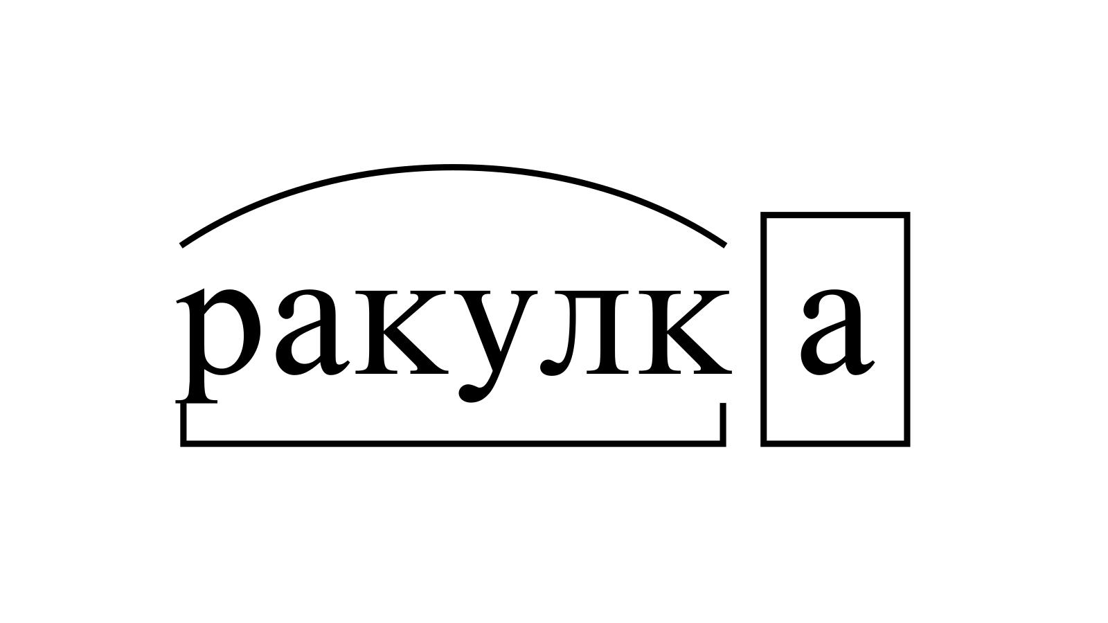 Разбор слова «ракулка» по составу