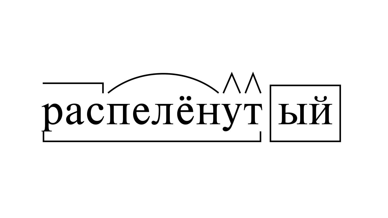 Разбор слова «распелёнутый» по составу