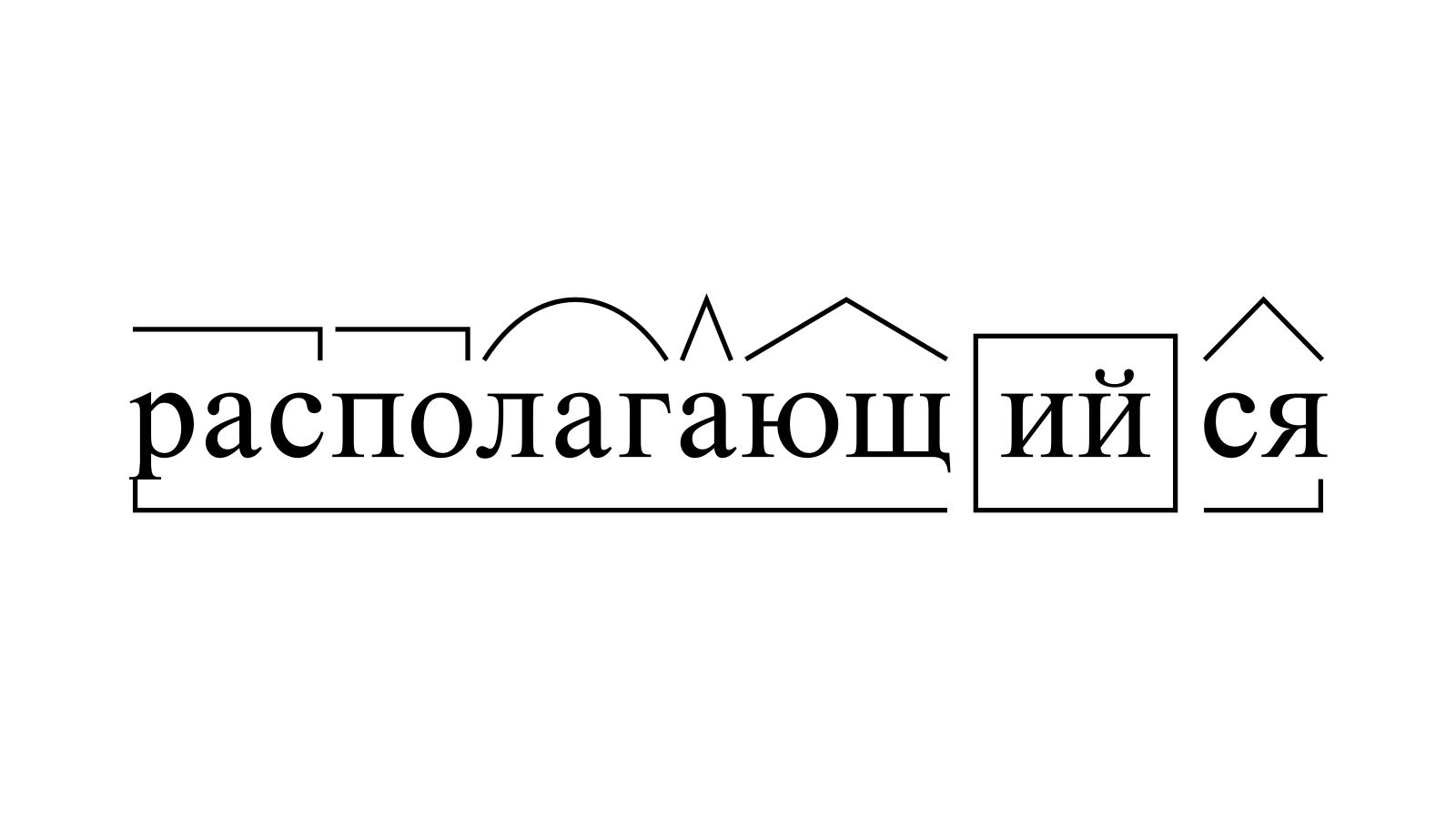 Разбор слова «располагающийся» по составу
