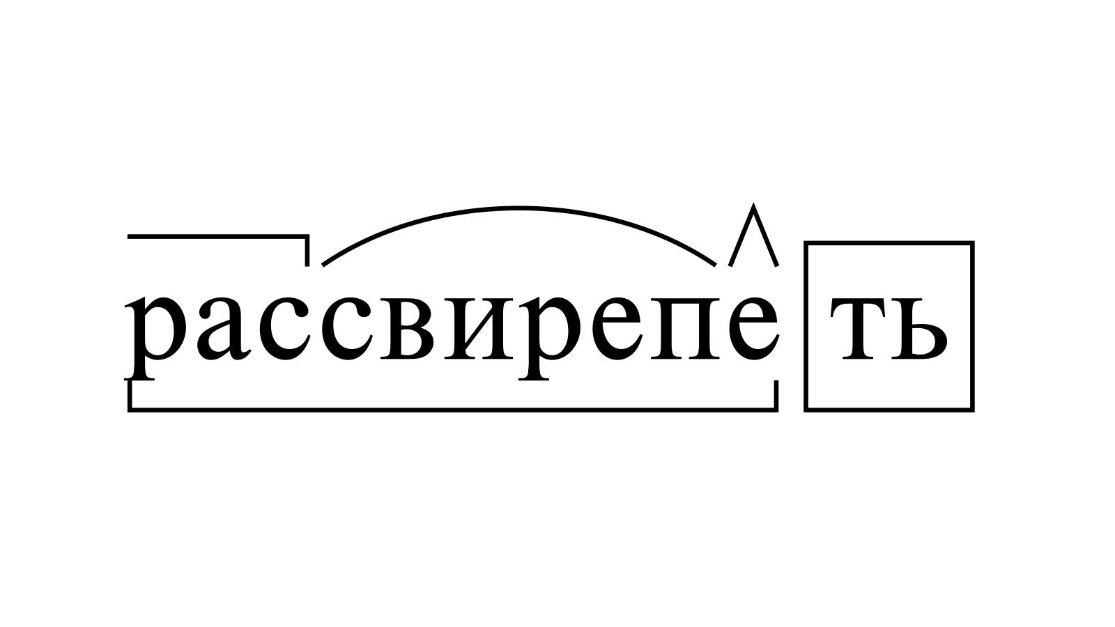 Разбор слова «рассвирепеть» по составу