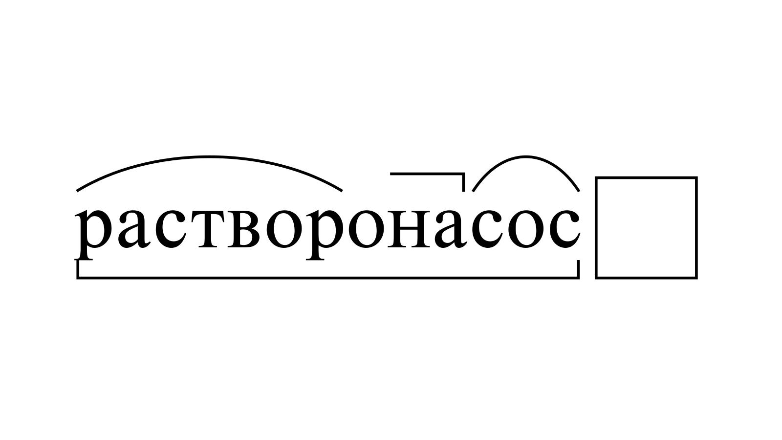 Разбор слова «растворонасос» по составу