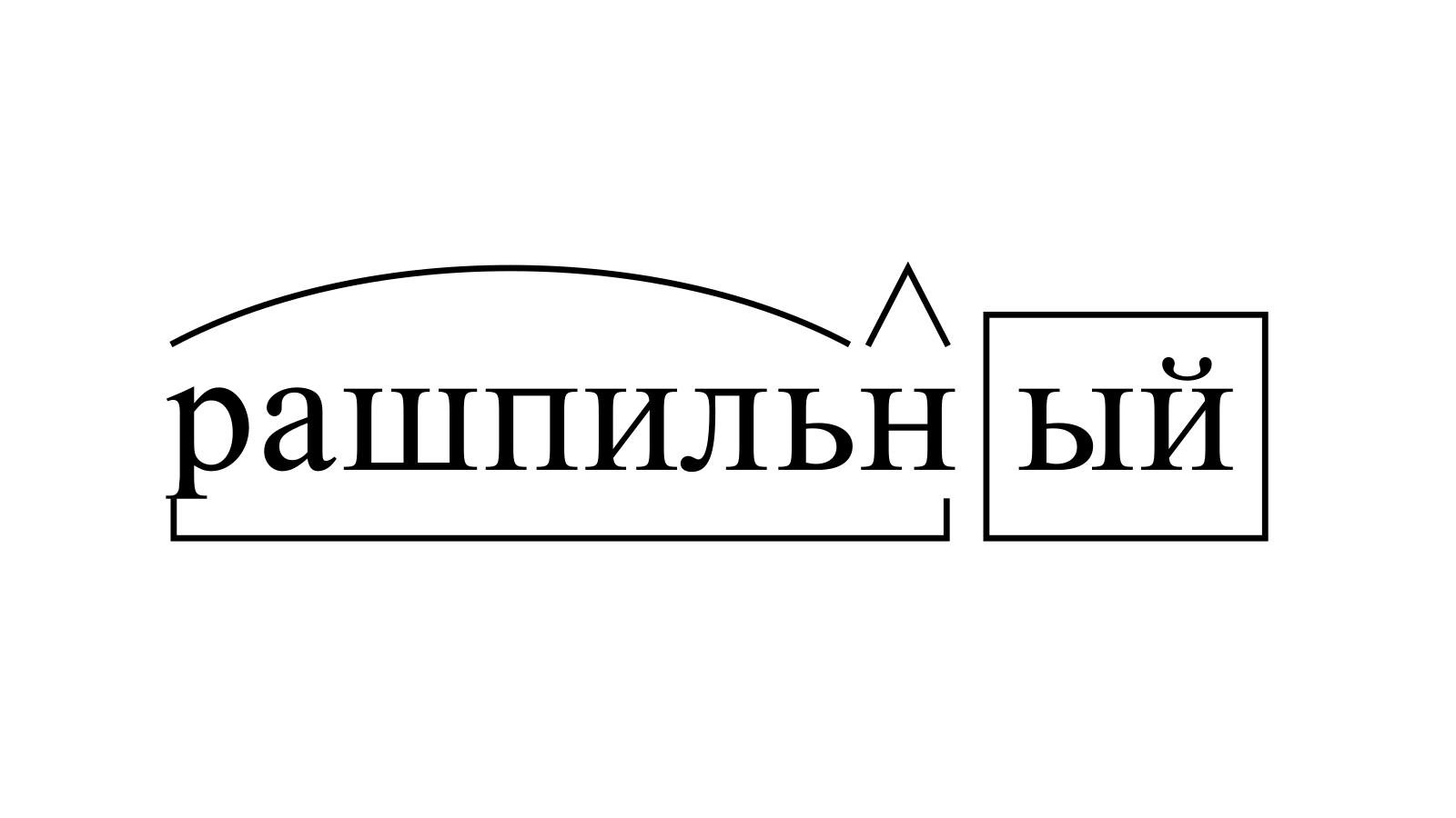 Разбор слова «рашпильный» по составу