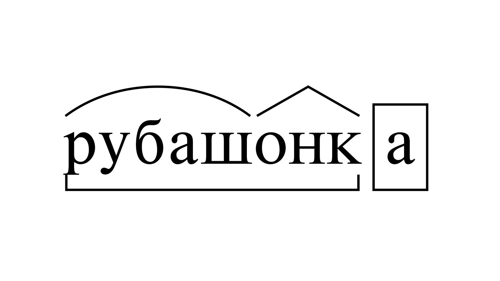 Разбор слова «рубашонка» по составу