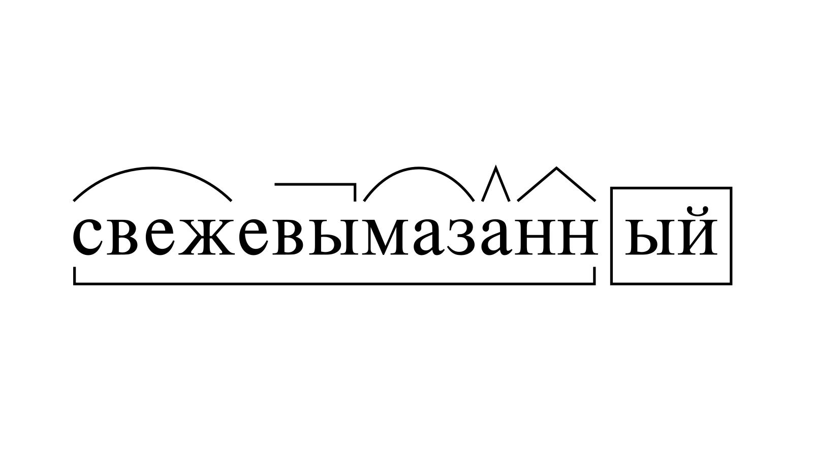 Разбор слова «свежевымазанный» по составу