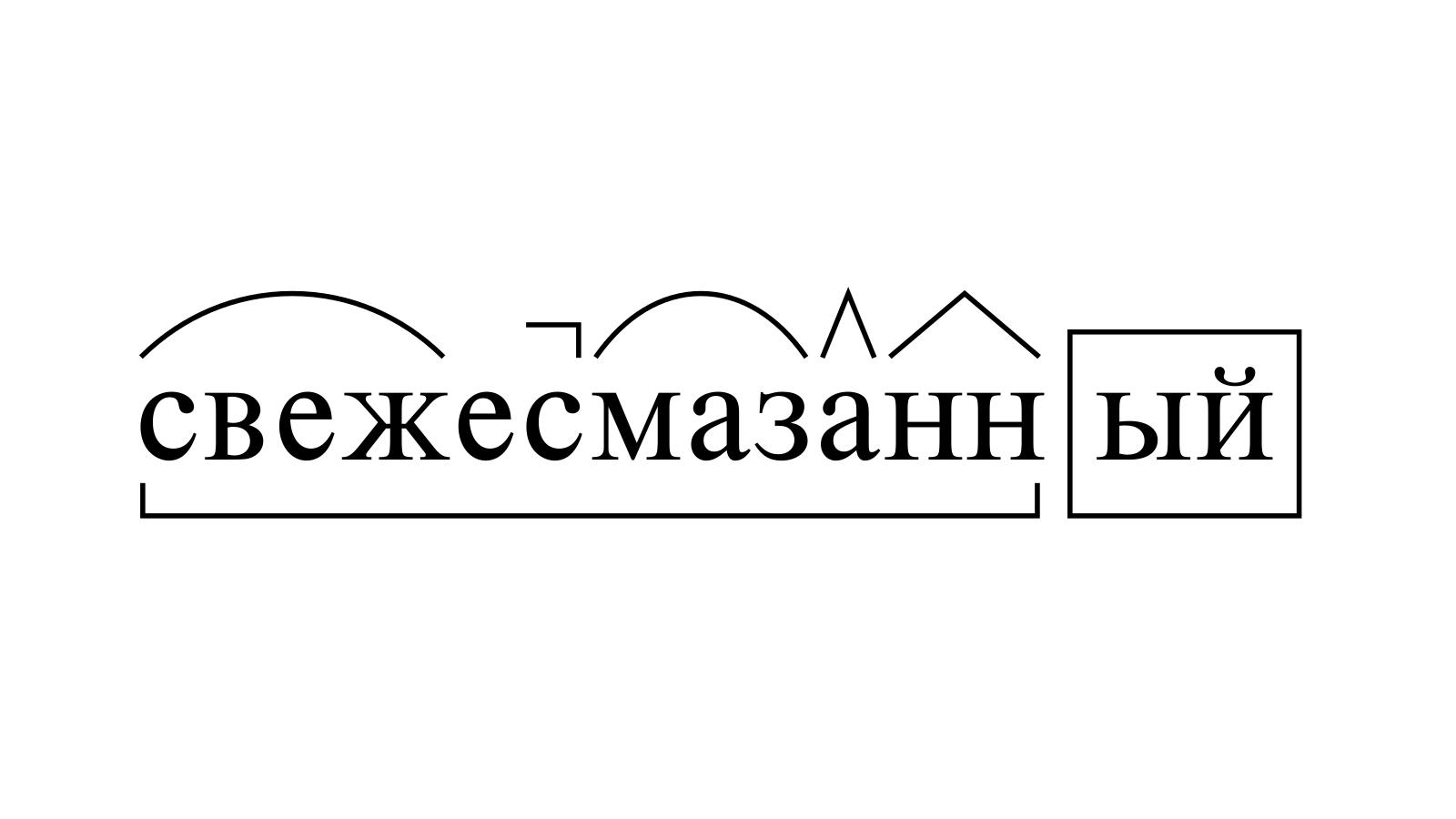 Разбор слова «свежесмазанный» по составу