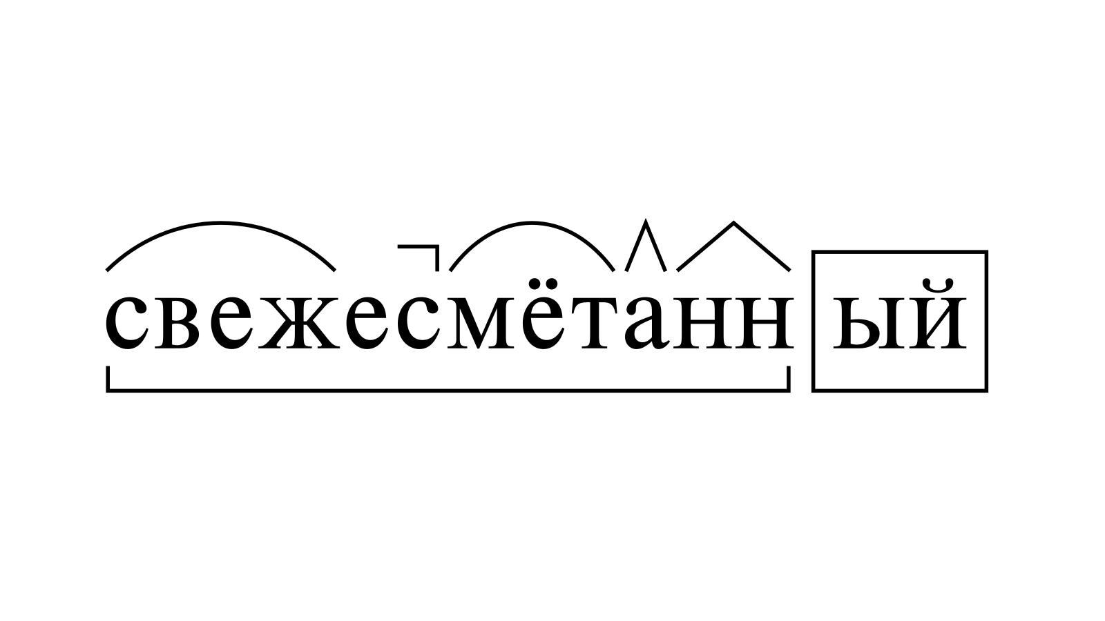 Разбор слова «свежесмётанный» по составу
