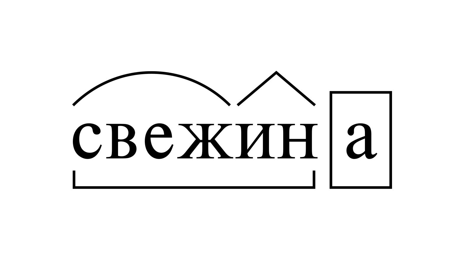 Разбор слова «свежина» по составу