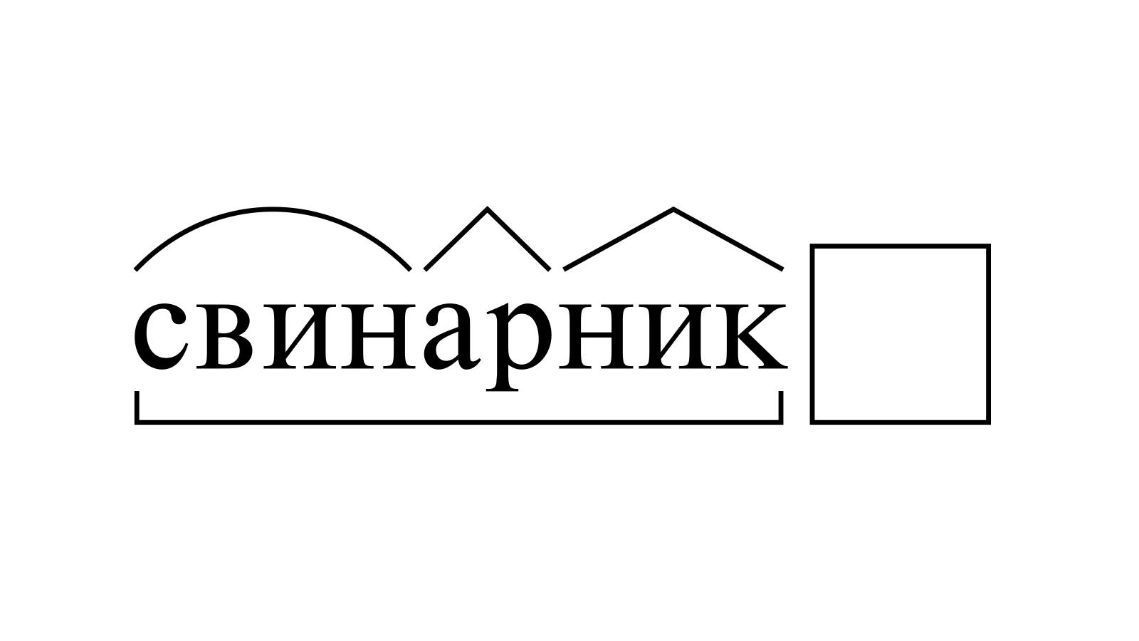Разбор слова «свинарник» по составу