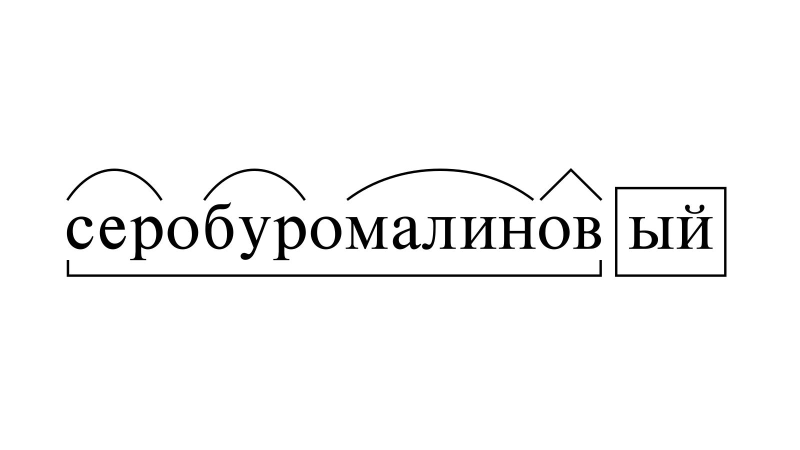 Разбор слова «серобуромалиновый» по составу