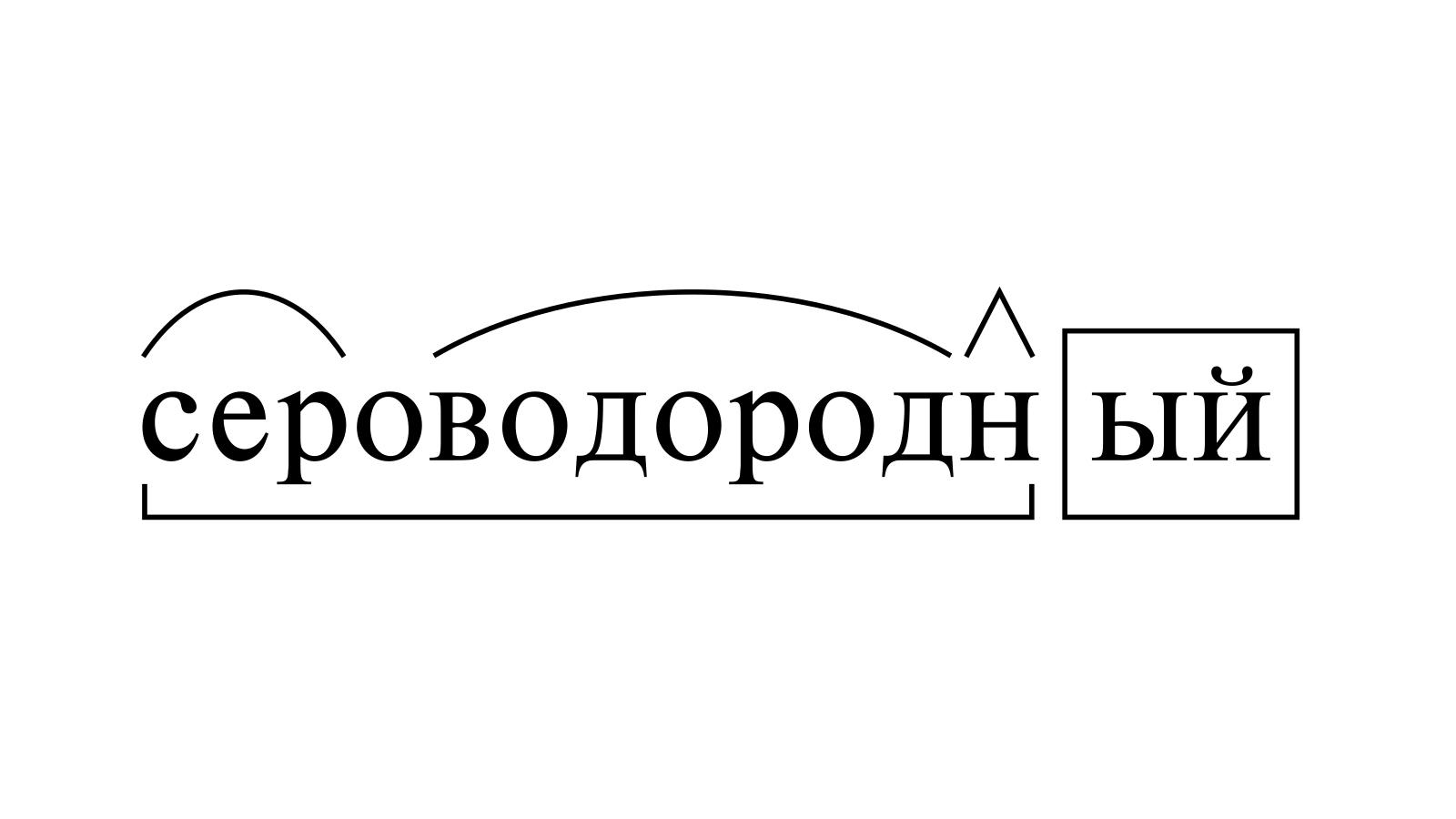 Разбор слова «сероводородный» по составу