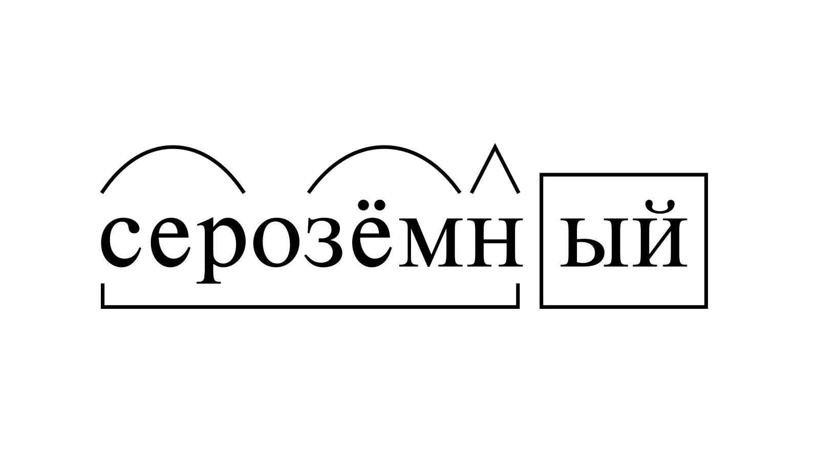 Разбор слова «серозёмный» по составу