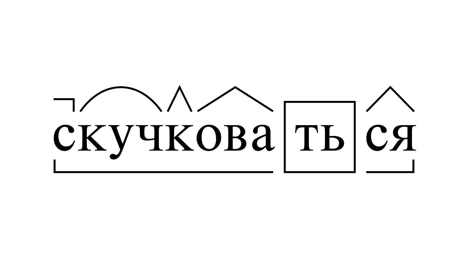 Разбор слова «скучковаться» по составу