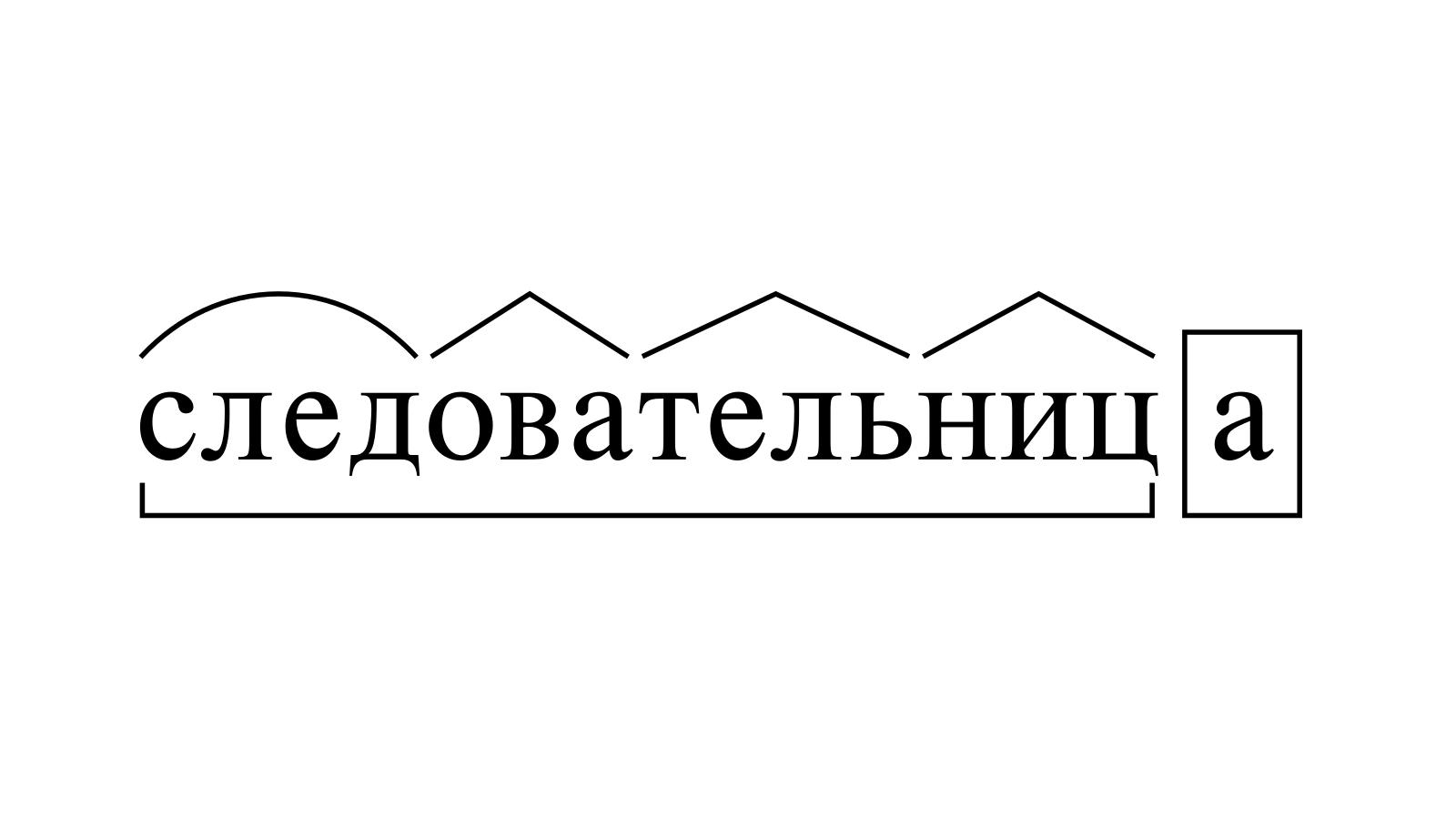 Разбор слова «следовательница» по составу