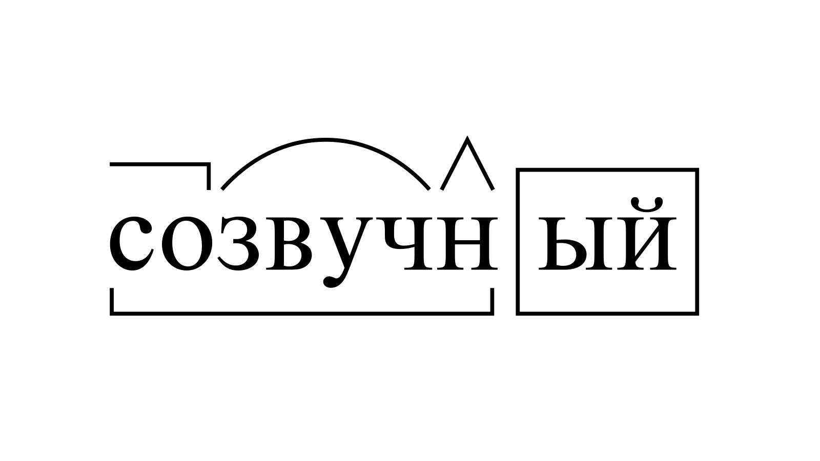 Разбор слова «созвучный» по составу