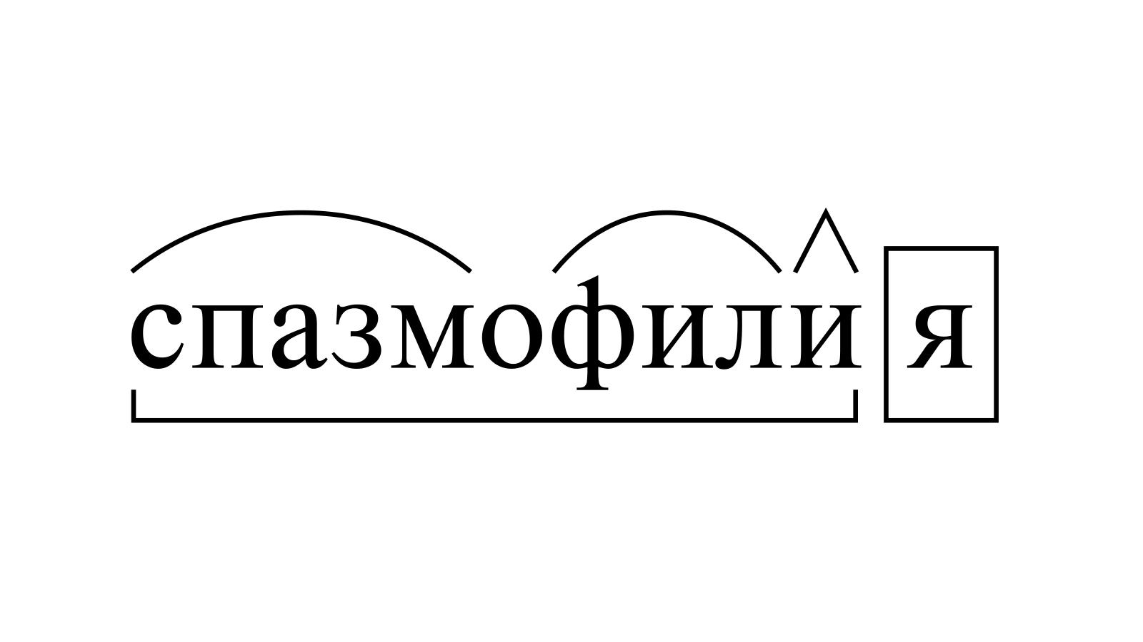 Разбор слова «спазмофилия» по составу