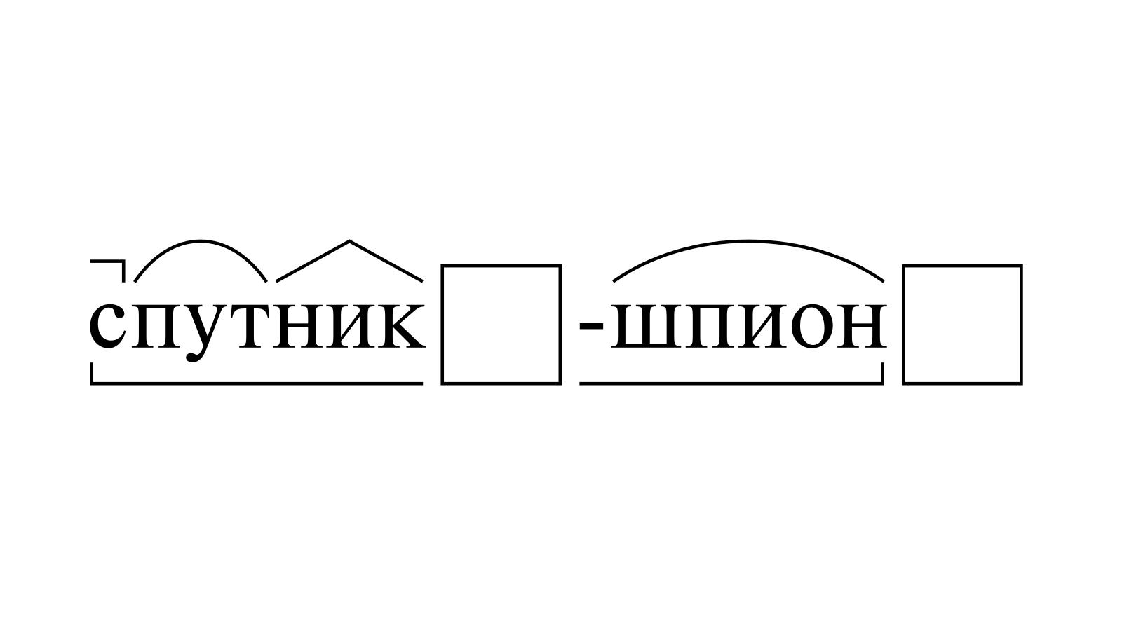 Разбор слова «спутник-шпион» по составу