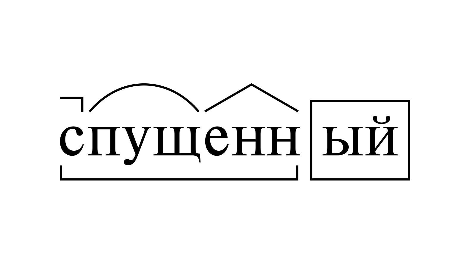 Разбор слова «спущенный» по составу