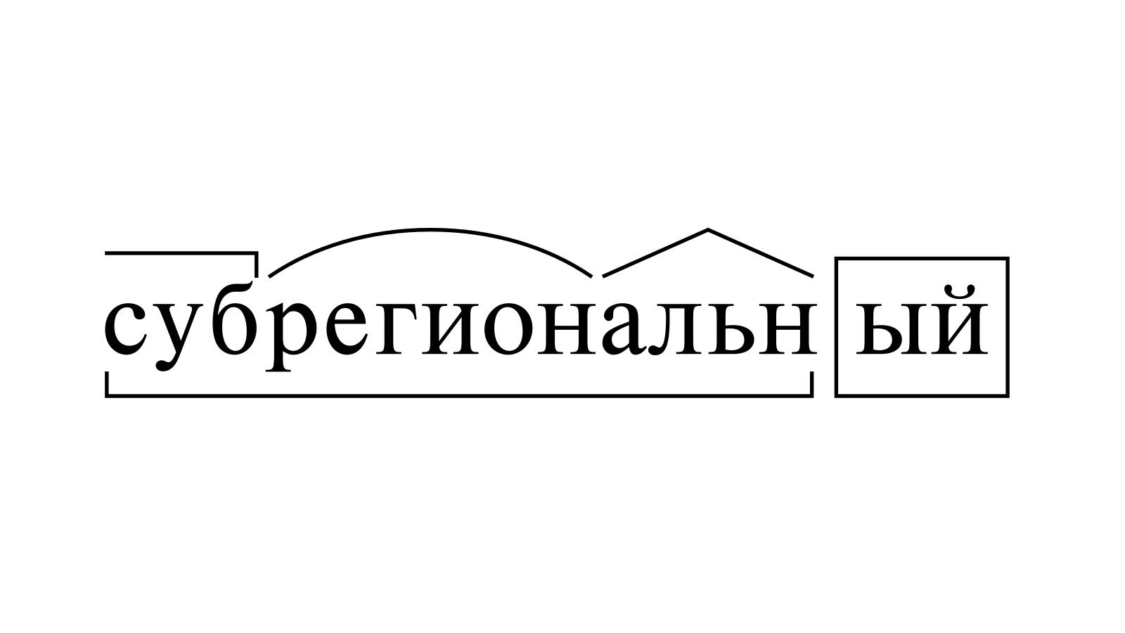 Разбор слова «субрегиональный» по составу