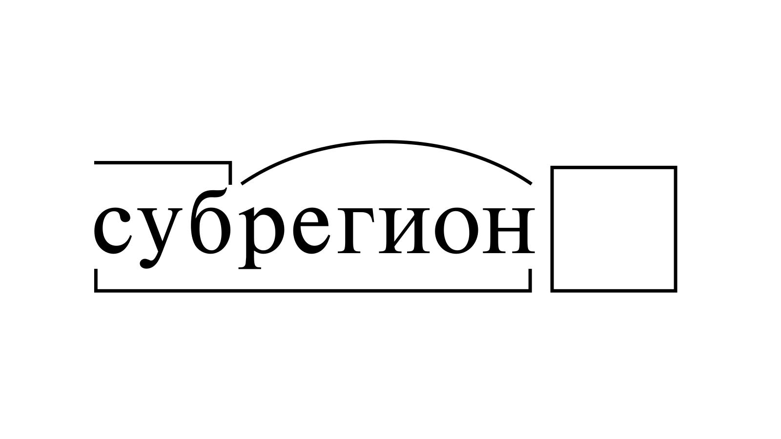 Разбор слова «субрегион» по составу